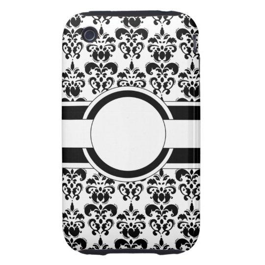 Black damask & monogram tough iPhone 3 case