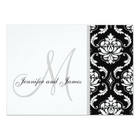 Black Damask Monogram Wedding Invitations