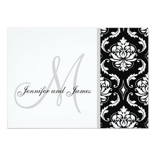 Black Damask Monogram Wedding Invitations Zazzle