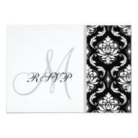 Black Damask Monogram Wedding RSVP Card