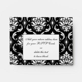 Black Damask Monogram Wedding RSVP Envelope