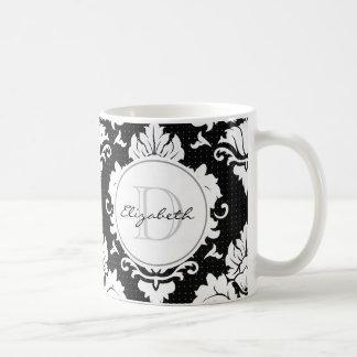 Black Damask Monogrammed Mug