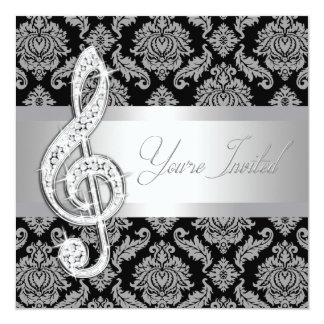 Black Damask Music Treble Clef Recital Invitations