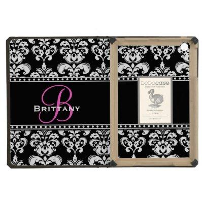 Black Damask Name Pink Initial Name iPad Mini Retina Covers