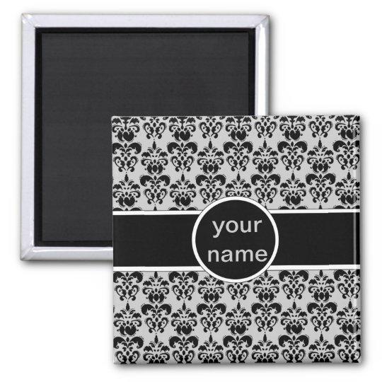 black damask on any color magnet