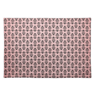 Black Damask on Faded Pink Background Cloth Placemat