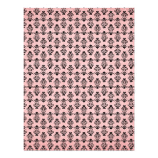 "Black Damask on Faded Pink Background 8.5"" X 11"" Flyer"