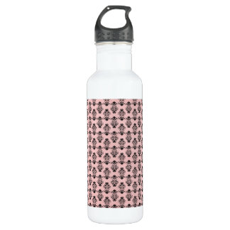 Black Damask on Faded Pink Background 24oz Water Bottle