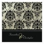 Black damask on faux silver/wedding invitation