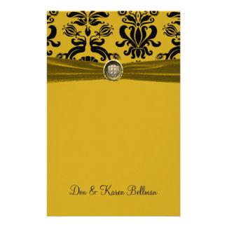 Black Damask On Gold Personal Stationery