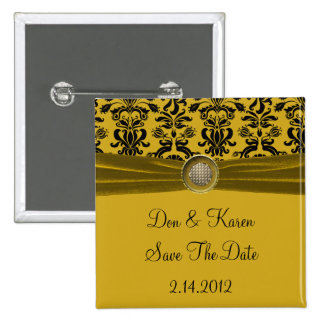 Black Damask On Gold Save The Date Pin