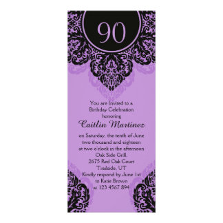 Black damask on lilac purple 90th Birthday Party Personalized Invitations