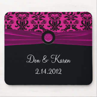 Black Damask On Magenta Keepsake Mouse Pad