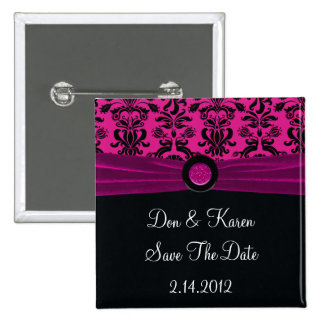 Black Damask On Magenta Save The Date Pinback Buttons