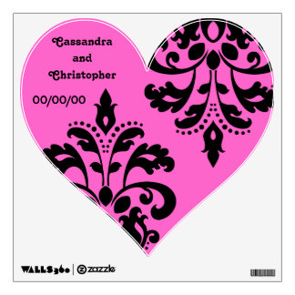 Black damask on pink heart wedding wall decal