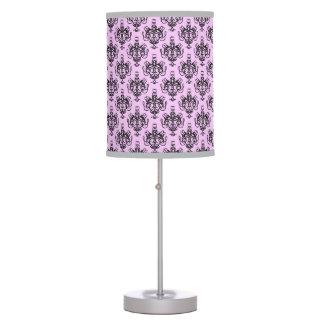 Black Damask On Pink Table Lamp