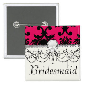 black damask on raspberry bold 2 inch square button