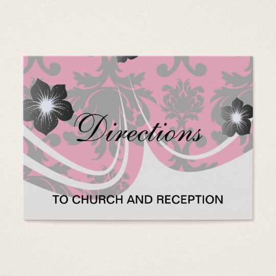black damask on raspberry bold business card