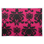 black damask on raspberry bold cloth placemat
