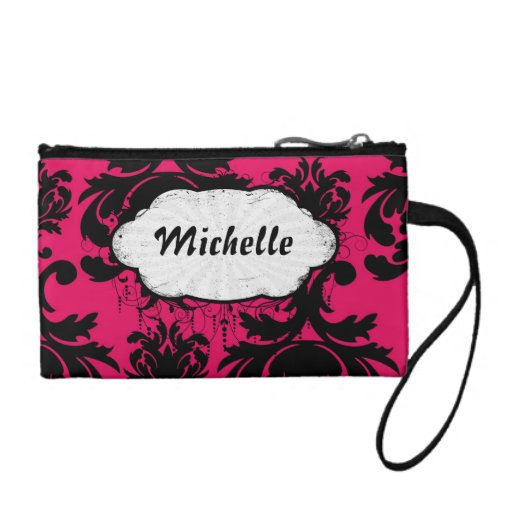 black damask on raspberry bold coin purse