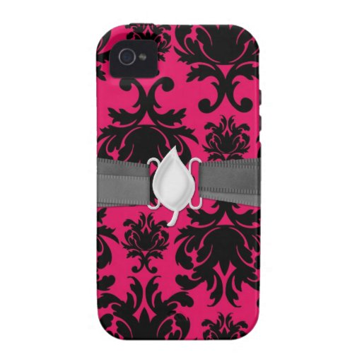 black damask on raspberry bold iPhone 4/4S cases