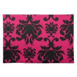 black damask on raspberry bold placemats