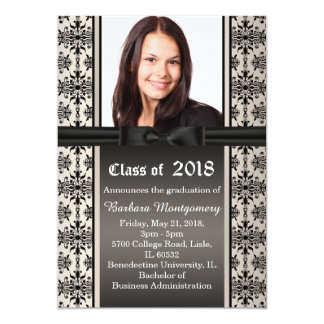 Black damask on silver Graduation Party Invite