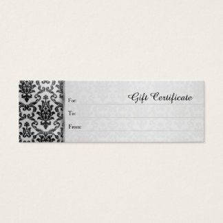 Black damask on silver grey Gift Certificate