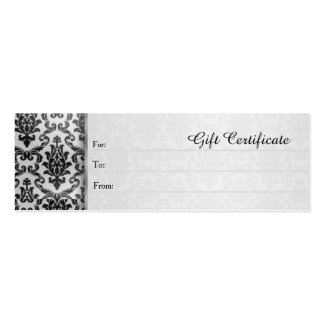 Black damask on silver grey Gift Certificate Mini Business Card