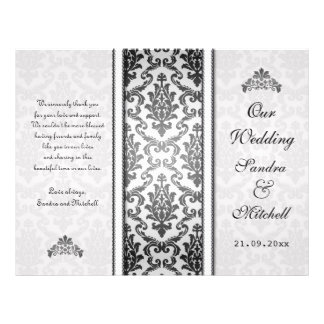 Black damask on silver Wedding Program