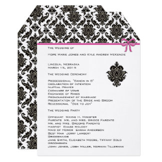 Black Damask On White  Pink Trim Wedding Program