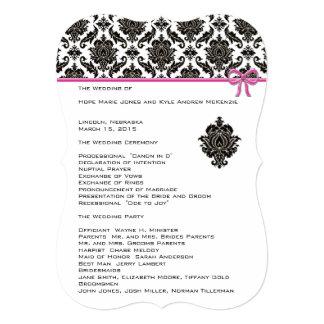 Black Damask On White  Pink Trim Wedding Program Card
