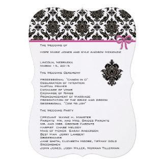 Black Damask On White  Pink Trim Wedding Program Personalized Invites
