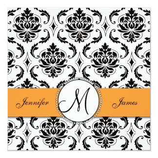 Black Damask Orange Wedding Invitations