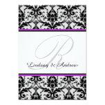 "Black Damask Orchid Gray Monogram Wedding 5"" X 7"" Invitation Card"