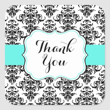 Black Damask Party Favor Stickers