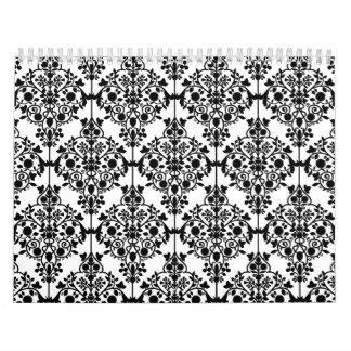 Black Damask Pattern 1 Vintage Floral Wall Calendars