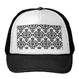 Black Damask Pattern 1 Vintage Floral Mesh Hat