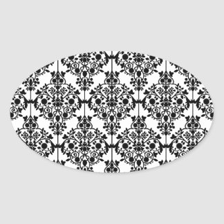 Black Damask Pattern 1 Vintage Floral Oval Sticker