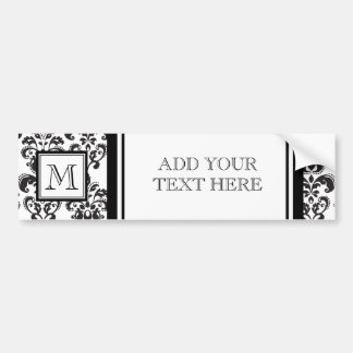 Black Damask Pattern 2 with Your Monogram Bumper Sticker