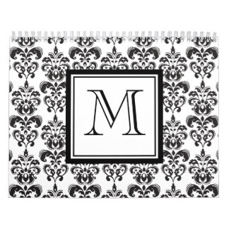 Black Damask Pattern 2 with Your Monogram Wall Calendar