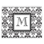 Black Damask Pattern 2 with Your Monogram Calendar