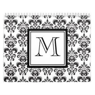 Black Damask Pattern 2 with Your Monogram Calendar