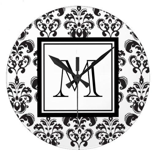 Black Damask Pattern 2 with Your Monogram Wallclock