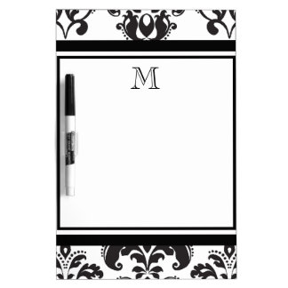 Black Damask Pattern 2 with Your Monogram Dry Erase Board