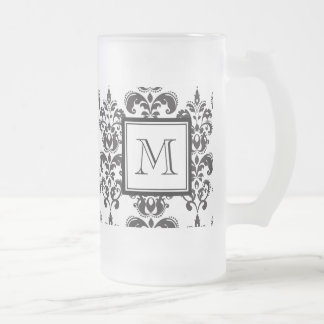 Black Damask Pattern 2 with Your Monogram Frosted Glass Beer Mug