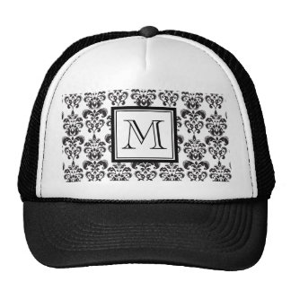 Black Damask Pattern 2 with Your Monogram Trucker Hat