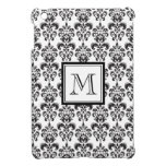 Black Damask Pattern 2 with Your Monogram iPad Mini Cover