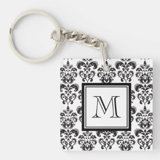 Black Damask Pattern 2 with Your Monogram Keychain