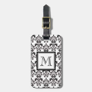 Black Damask Pattern 2 with Your Monogram Luggage Tag